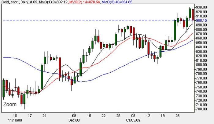 Spot Gold Rates - Daily Candle Chart 3rd February 2009