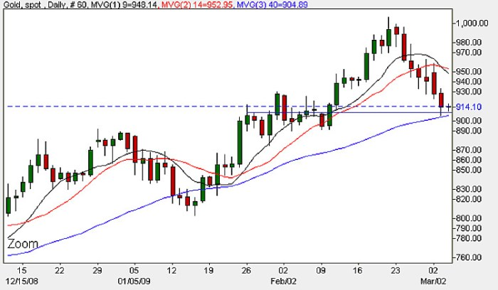 Spot Gold Prices - Daily Candle Chart 4th March 2009