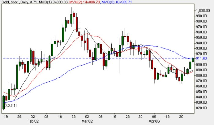 Gold Prices - Gold Spot Price Daily Chart 24th April 2009