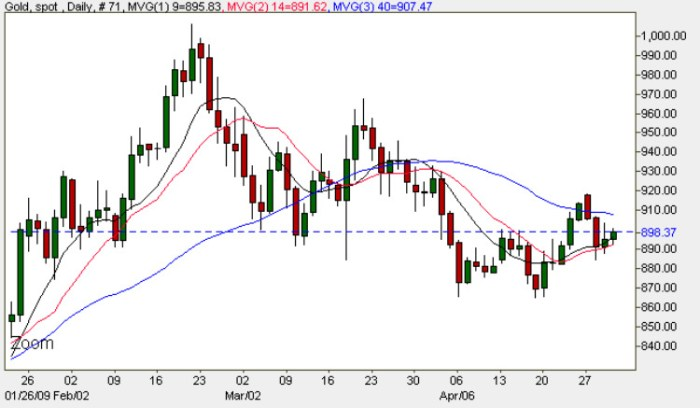 Spot Gold - Daily Gold Chart For Gold Prices 30th April 2009
