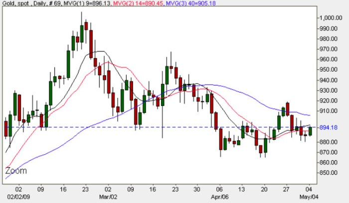 Spot Gold Prices - Daily Gold Chart 4th May 2009
