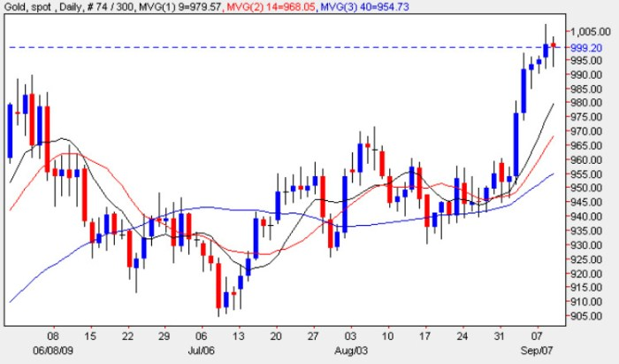 Spot Gold Price - Daily Gold Chart 9th September 2009