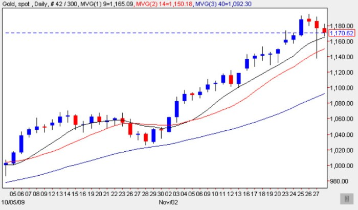 Spot Gold Price Chart 30 Nov 2009