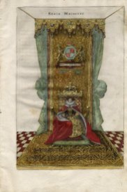 Elizabeth enthroned, in Nobilitas politica vel ciuilis, 1608. This handcolored engraving shows Elizabeth enthroned. We know that she wore three different costumes for her coronation day, two of them inherited from her sister Mary. One of these had a mantle and gown made of cloth of gold, the mantle trimmed with ermine. Robert Glover, who wrote Nobilitas politica vel ciuilis, was Somerset Herald and one of the great English genealogists.