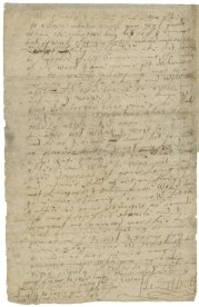 """Elizabeth I Autograph letter, signed, to James VI of Scotland, ca. 1592/3 March. Although Elizabeth did not wish to declare a successor during her lifetime, she certainly had James VI of Scotland (1566-1625) in mind. She paid the younger man an allowance and kept up a correspondence with him. In this letter she warns him to deal more forcefully with a group of belligerent Catholic earls in Scotland who were planning to support a Spanish invasion of the country. At the end of the letter, when she is running out of paper, she apologizes for her handwriting: """"Now do I remember your cumber to read such scribbled lines."""""""