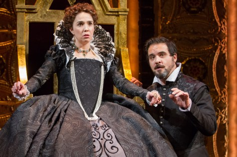 "Holly Tywford as Elizabeth I and Cody Nickell as Leicester in Schiller's ""Mary Stuart"" directed by Richard Clifford. Folger Theatre, 2015. Photo by Teresa Wood."