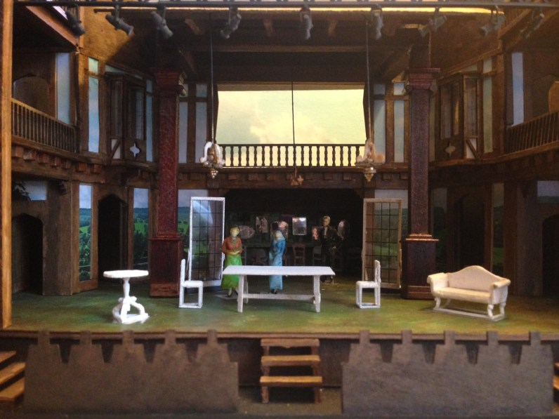 John McDermott's set model for Sense & Sensibility at the Folger. Note the landscape photos as wall panels.