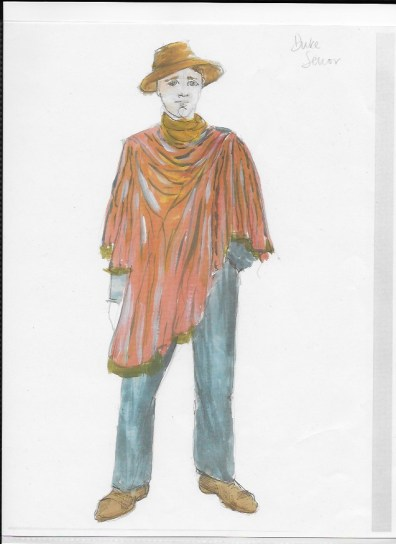 Costume rendering for Duke Senior. Charlotte Palmer-Lane.