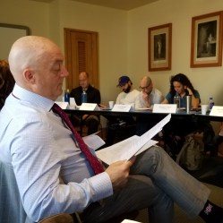 Director Robert Richmond oversees the first rehearsal of 'Timon of Athens,' 2017. Photo: Ben Lauer.