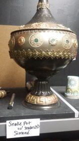The snake container. The bowl that forms its base was the first thing Koehler bought for the show.