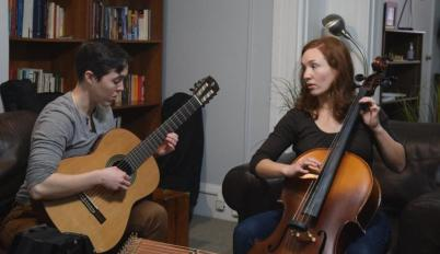 Emily Kaye Lynn and Liz Filios rehearse music for The Winter's Tale, 2018.