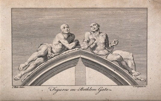 "The figures of ""Raving Melancholy and Madness"" crowning the gates of Bethlem Hospital, perhaps points to the public display of the inmates. Engraving by C. Grignion after S. Wale after C. Cibber, 1680. Source: Wellcome Collection."