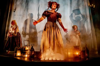 The witches (Ethan Watermeier, Rachael Montgomery, and Emily Noël) in Macbeth, 2018.
