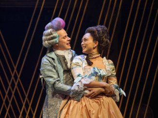 Mozart (Samuel Adams) and Constanze (Lilli Hokama). Amadeus, Folger Theatre, 2019. Photo: C. Stanley Photography.