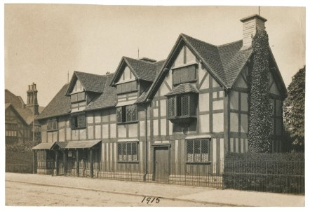 Shakespeare's birthplace, exterior views [graphic], 1915. Folger Shakespeare Library: ART File S899h1 no.57 part 5 PHOTO (size XS).