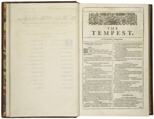 Title page of The Tempest showing the title and two columns of text with the opening scene of the play.