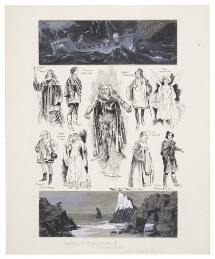 A collection of skecthes of characters from The Tempest; at the top an illustration of a ship in a storm, at the bottom an illustration of a figure on a rock staring out at a ship