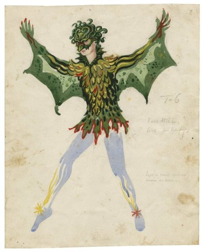 Costume drawing of Ariel as a harpy; figure has arms outstretched and has a green outfit with wings and a mask
