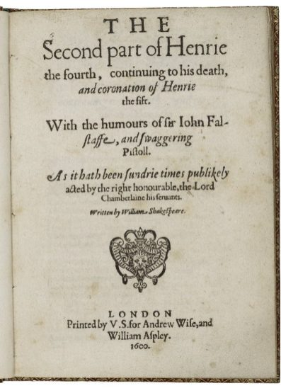 Title page of the 1600 printing for King Henry IV part 2