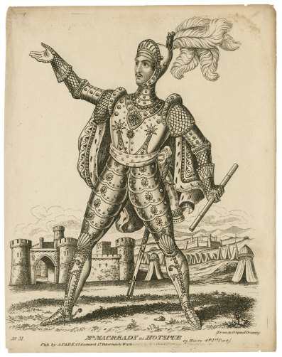 A 19th-century black and white illustration of a man in elaborate knights armor with a medieval castle drawn in the background