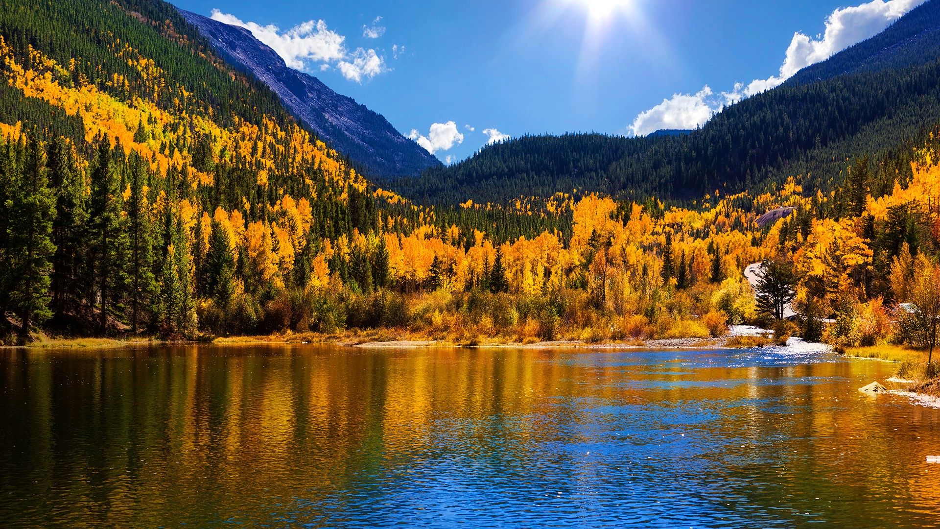 Fall Mountaons In The Sun Wallpaper Georgetown Reservoir In Autumn Arapaho National Forest