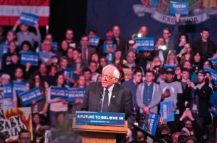 Sanders addresses thousands of supporters at Washington Armory.