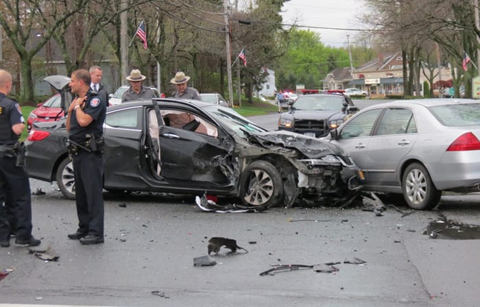 Four vehicles were involved in an accident on Route 9 at the entrance to Newton Plaza Wednesday, May 4. Spotlight photo by Tom Heffernan Sr.