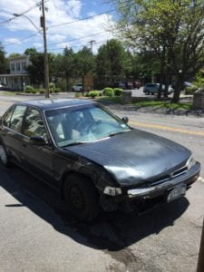 Image of the Honda Accord involved in the crash. (photos by Tricia Cremo)