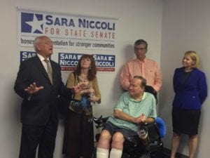 Rep. Paul Tonko (D-20) touts Niccoli's commitment to small business owners and district residents; to his left (L-R) are Guilderland Town Clerk Jean Cataldo, Guilderland Dem Committee Chair Dave Bosworth, Senator Neil Breslin and Niccoli.