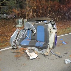Fatal one-car accident on Bender Lane in Delmar, Saturday, Nov. 19. (Photo by Thomas Heffernan, Sr.)