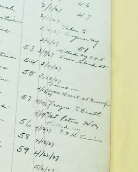 Entries in a log book at the Albany County Hall of Records of those buried at the paupers' graveyard behind the Albany County Hockey Facility. (Jim Franco/Spotlight News)