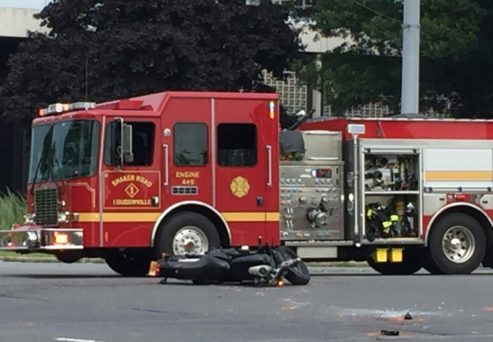 The scene of a fatal motorcycle accident in Colonie (Photo by Tom Heffernan Sr./special to Spotlight News)