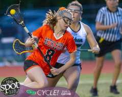 Bethlehem midfielder Julie Kuzmich drives by a Shenendehowa defender Emma Sinuc during the Section II, Class A championship at Mohonasen High School on Wednesday, May 22 2019 (Jim Franco/Special to the Times Union.)