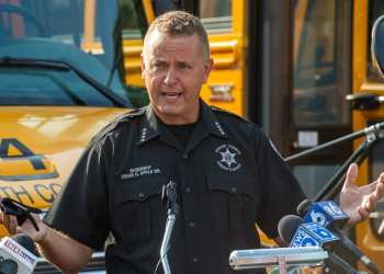 In this file photo, Sheriff Craig Apple talks about school bus safety at the South Colonie School District transportation facility.    Jim Franco/Spotlight News