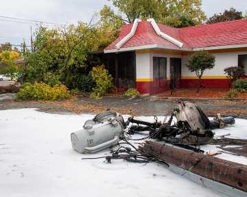 A smoldering transformer outside the McDonalds on Troy Schenectady Road (Jim Franco/Spotlight News)