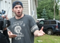 Nicholas Congemi explains to the media what transpired while he was inside the home at the intersection of Breeman Street and Central Avenue on June 27, 2018 (Jim Franco/Spotlight News)