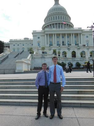 Will and Brian Meersma, who presented on assistive technology at the Spotlight On Dyslexia Conference 2013, in front of the U.S. Capitol.