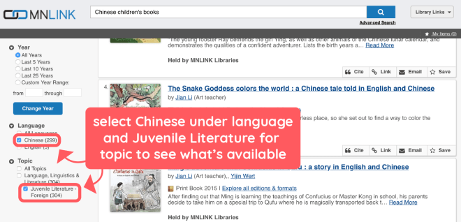 Check out Chinese Children's Books from the library