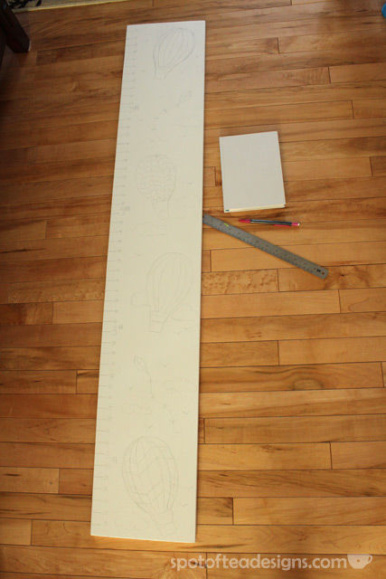 DIY Portable Growth Chart: Sketching the design | spotofteadesigns.com