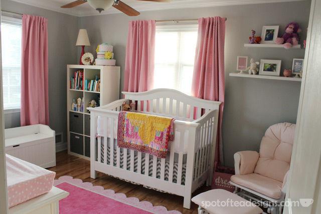 Pink, White and Grey Baby Girl Nursery   spotofteadesigns.com