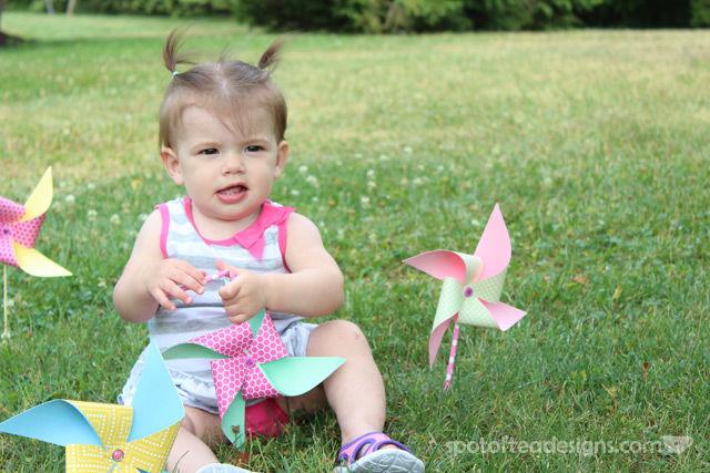 First Birthday Party Invitation Photoshoot: pinwheels   spotofteadesigns.com