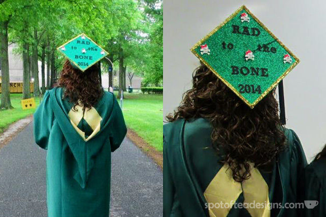"""""""Rad to the Bone"""" Decorated Graduation Cap (for someone with a degree in Radiography) 