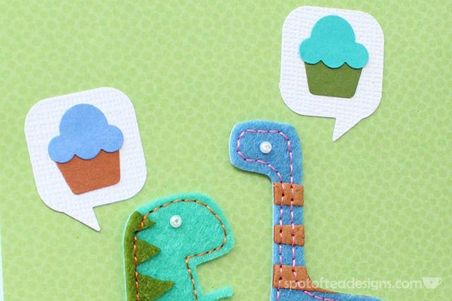 Handmade Birthday Cards: Dinosaurs talking about cupcakes | spotofteadesigns.com
