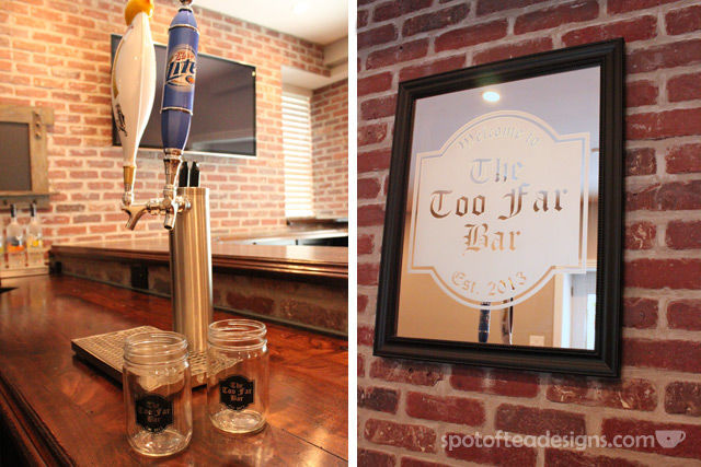 Beautiful Basement Bar Reveal: custom frosted mirror and mason jars #mancave | spotofteadesigns.com