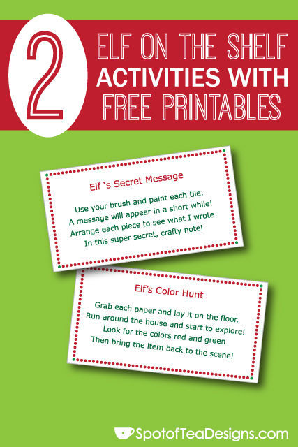 """2 Easy #ElfOnTheShelf Activities with Free #Printables: Send kids on a color hunt and write them a """"secret"""" message (crayon resist)