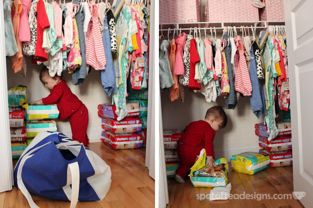 First Time Mom #Parenting advice: Don't let them play with the diaper stockpile | spotofteadesigns.com
