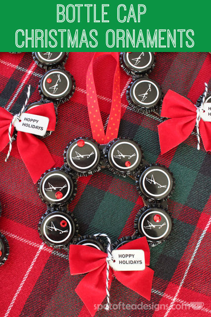Bottle Cap Christmas Ornament Wreath #gift #christmas #ornament | spotofteadesigns.com