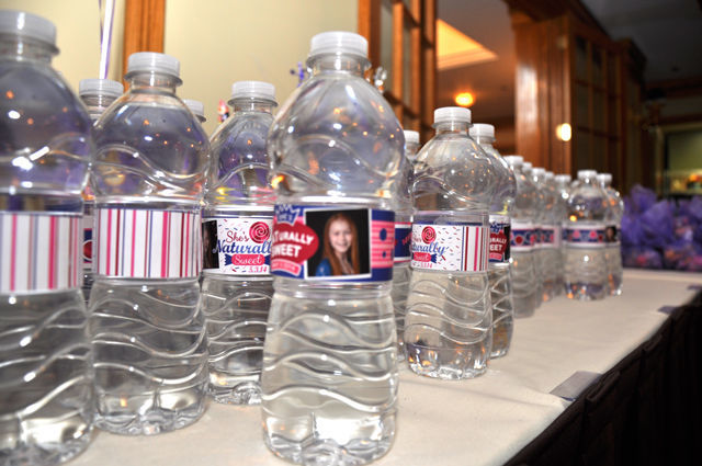 Candy Themed Bat Mitzvah: personalized water bottle wrappers | spotofteadesigns.com