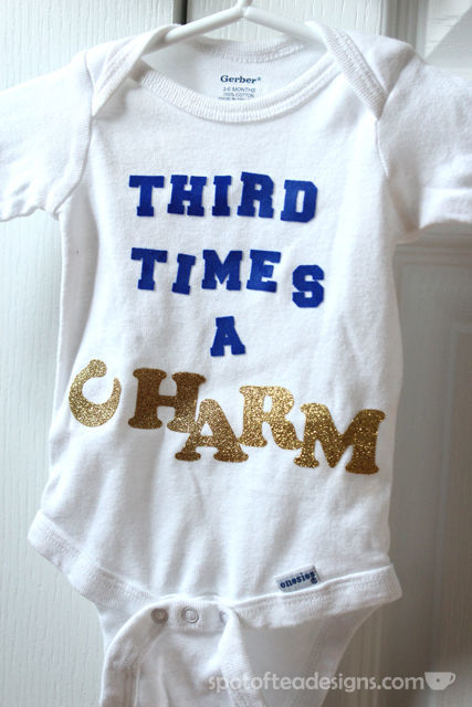 Custom Baby Onesie for Third Child Using Iron On letters | spotofteadesigns.com