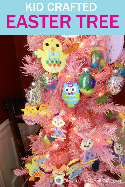 Kid crafted #Easter tree: decorate an artificial tree all year long, not just Christmas!   spotofteadesigns.com